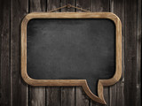 speech bubble blackboard or chalkboard hanging on wooden wall