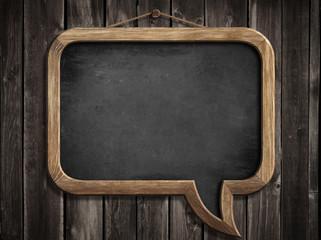 speech bubble blackboard or chalkboard hanging on wooden wall
