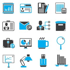 office icons, black and blue theme