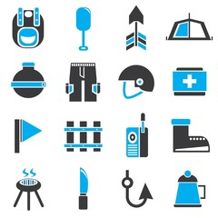 camping icons, blue theme