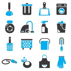 cleaning tools icons, household icons, blue theme