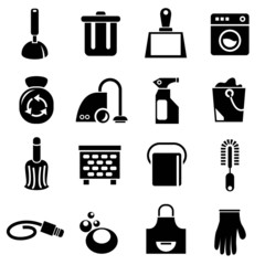 cleaning tools icons, household icons
