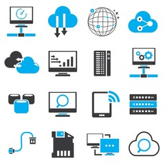 network icons, blue theme