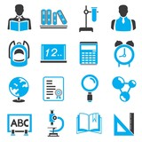 school icons, blue theme