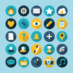 Flat modern design of icons with long shadow