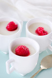 Stewed berry topping on panna cotta