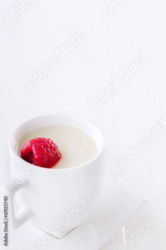 Panna cotta dessert jelly with raspberry