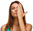 woman girl covered her face half hand isolated