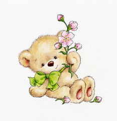 Cute Teddy bear with flowers
