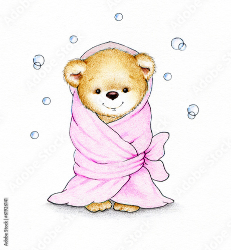 Cute Teddy bear in a blanket