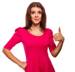 woman young sign thumbs yes in pink dress isolated