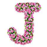 J, flower alphabet isolated on white with clipping path
