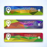 Set of website abstract triangle banners for UI and web designer