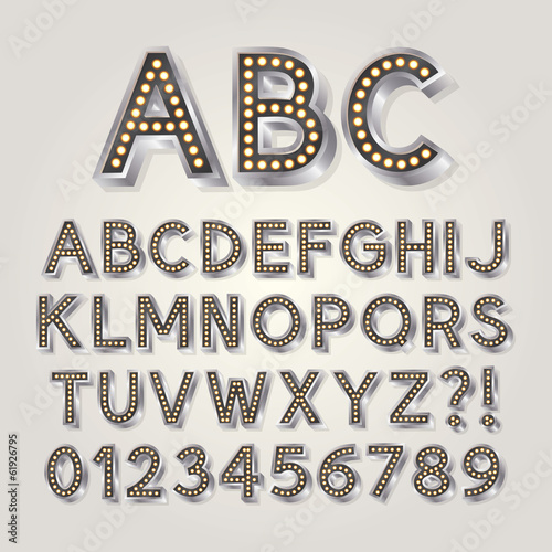 Silver 3D Broadway Alphabet and Numbers, Eps 10 Vector Editable