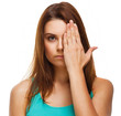 woman covered her face half hand isolated