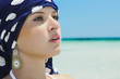 Beautiful Woman on the Beach.Arab Fashion.Sea Landscape.Summer