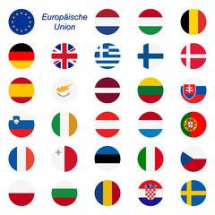 EU Mitgliedstaaten - Flaggen rund