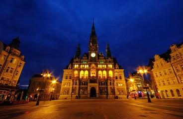 Liberec Rathaus Nacht - Liberec townhall night 02