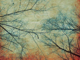 Retro paper with tree branches