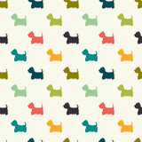 Seamless pattern with dog silhouettes. West highland terrier