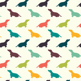 Seamless pattern with dog silhouettes. Dachshund