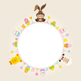 Bunny, Duck & Sheep Round Frame Beige