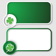set of two green text frames and cloverleaf