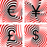 Design currency icons set. Euro, yen, pound, dollar