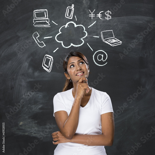 Indian woman thinking about Cloud computing