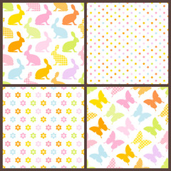 4 Seamless Pattern Easter Bunny & Butterfly Color