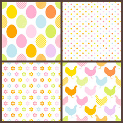 4 Seamless Pattern Easter Egg & Chicken Color