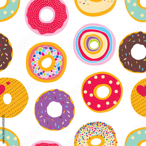 Cotton fabric Cute donuts. Vector a seamless pattern.
