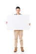 Asian man holding a blank board