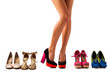 canvas print picture - Beautiful women legs with different pairs of shoes