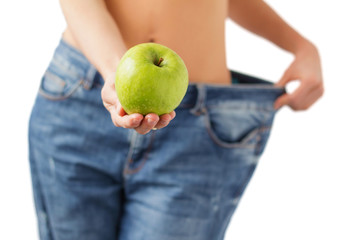 Successful diet and weight loss concept