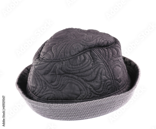 Black textile hat with wrapped edges.