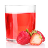 Fresh strawberry and juice glass isolated on white