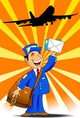 postman and plane