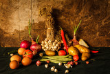 Still life photography with spices, herbs, vegetables and fruits