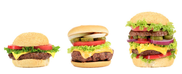 Three appetizing hamburgers.