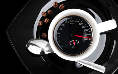 Coffee cup with speedometer, metaphor of people acceleration