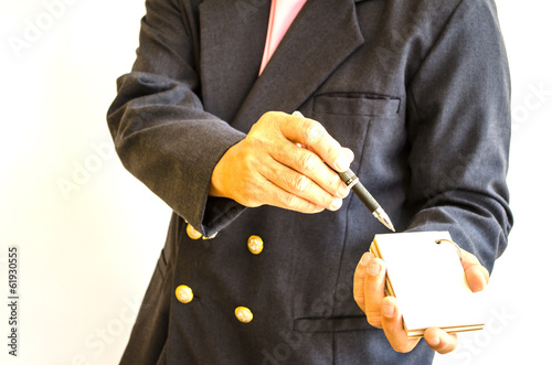 businessman making notes on the paper