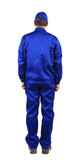 Worker in blue workwear. Back view. poster
