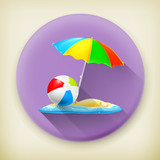 Beach, long shadow vector icon