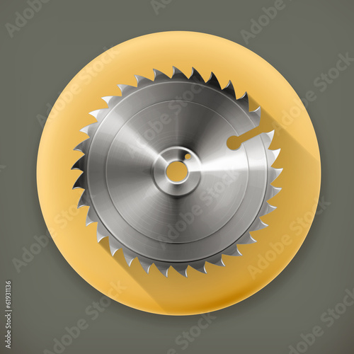 Circular saw blade, long shadow vector icon