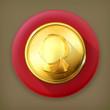 Gold coin, long shadow vector icon