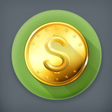 Gold coin, long shadow vector icon
