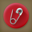 Safety pin, long shadow vector icon