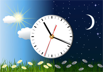 Day and night background with clock