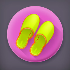 Slippers, long shadow vector icon